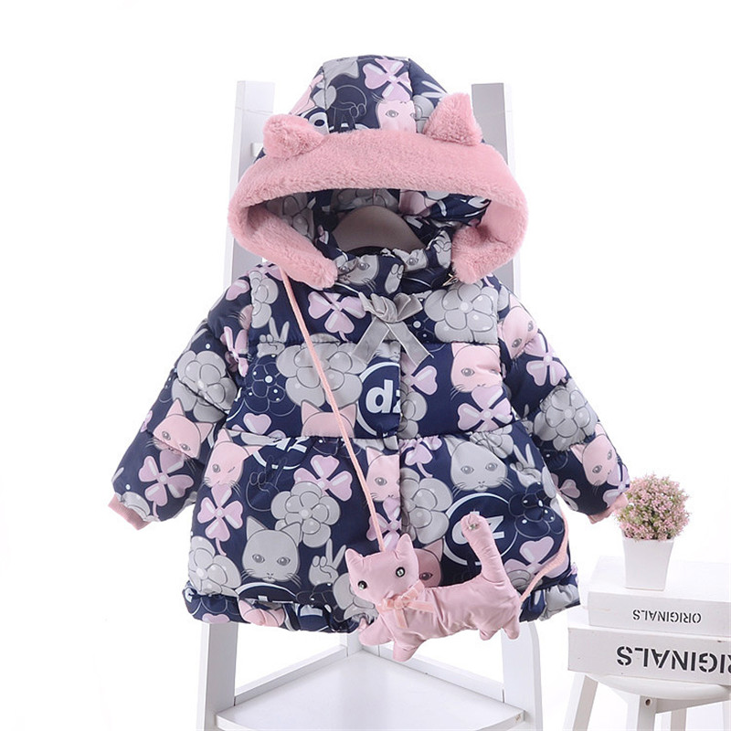 Baby Girl Warm Coats 2017 Winter Children Outerwear Print Cartoon Thick Princess Hooded Kids Jackets for Girls Clothes Costume 2017 winter baby coat kids warm cotton outerwear coats baby clothes infants children outdoors sleeping bag zl910