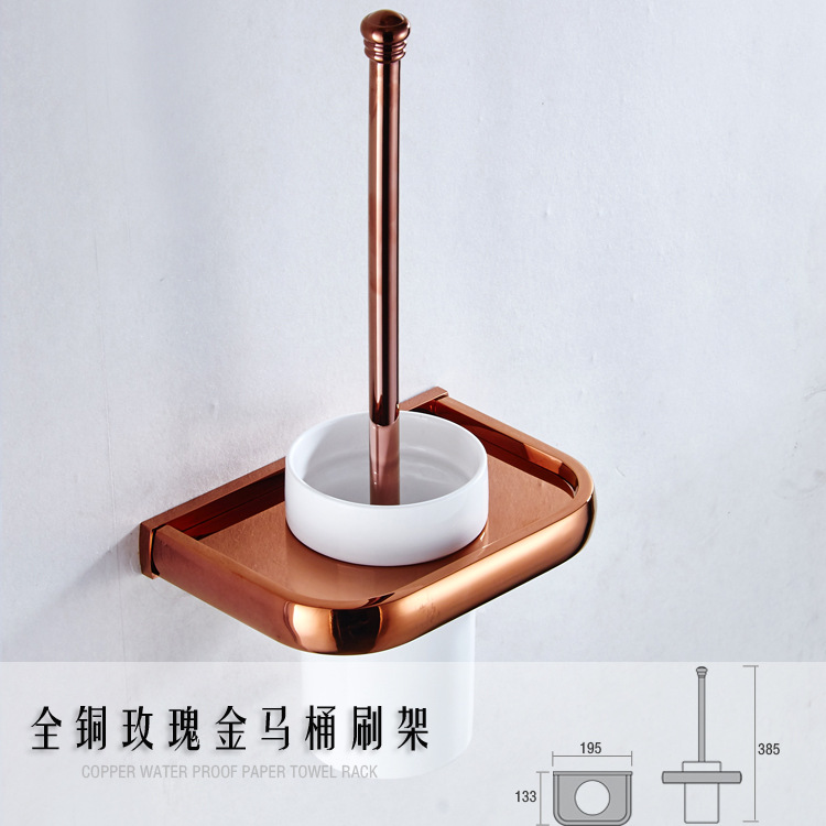 AUSWIND American Solid Brass Rose Gold Polished Toilet Brush Holder Ceramic Toilet Cup Wall Mount Bathroom Accessories M8506 antique brass artistic bathroom toilet brush holder