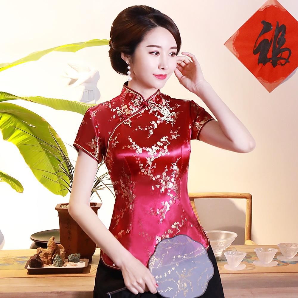 Burgundy Short Sleeve Women Summer Rayon Shirt NOVELTY Slim Chinese Style Blouse Plus Size Elegant Slim Tang Tops 3XL 4XL