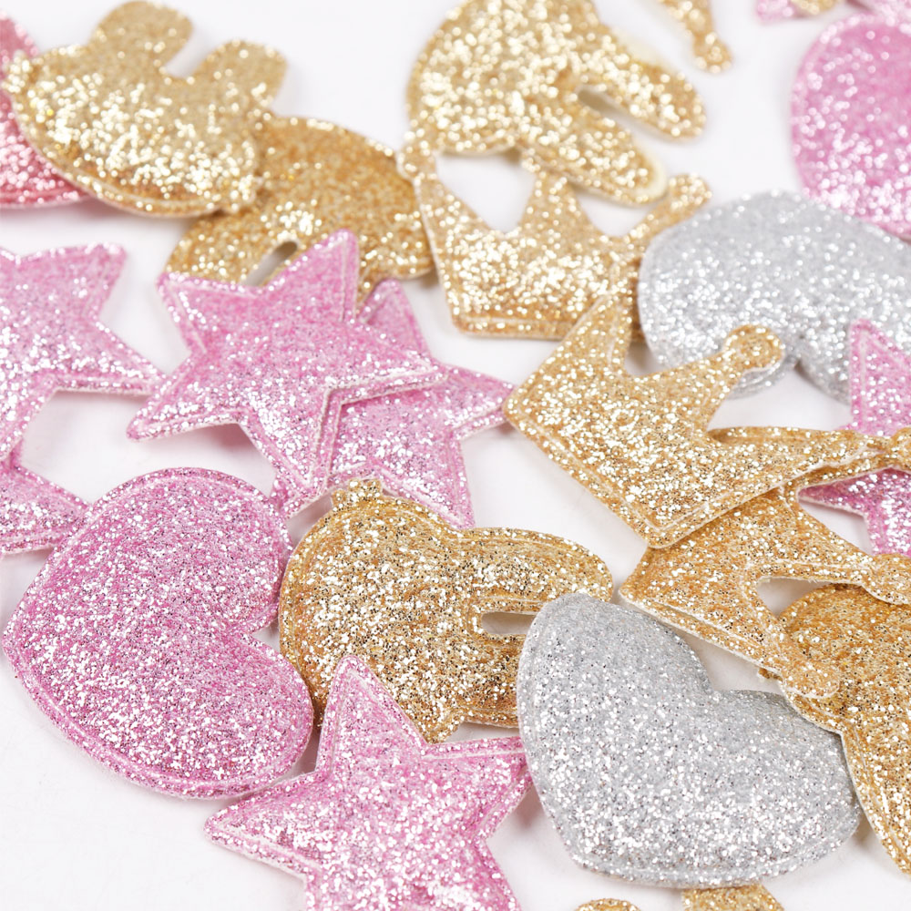 HTB1a VGnC8YBeNkSnb4q6yevFXan 100pcs/bag Glitter Patches Crown Rabbit Heart Pattern Cute Patch Apparel Sewing Material Patches For Clothing Garment Decorative