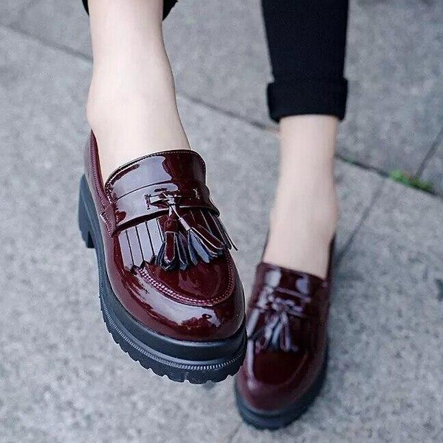 Borla moda Genuino Zapatos Oxford para Las Mujeres una de las señoras Mocasines