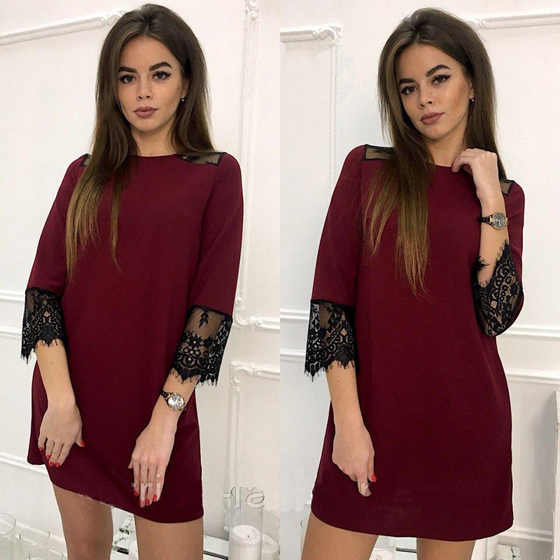 2018 Spring Summer 3/4 Sleeve Fashion Lace Stitching Casual Dress  O-Neck Loose Straight Dress Wine Red l 2
