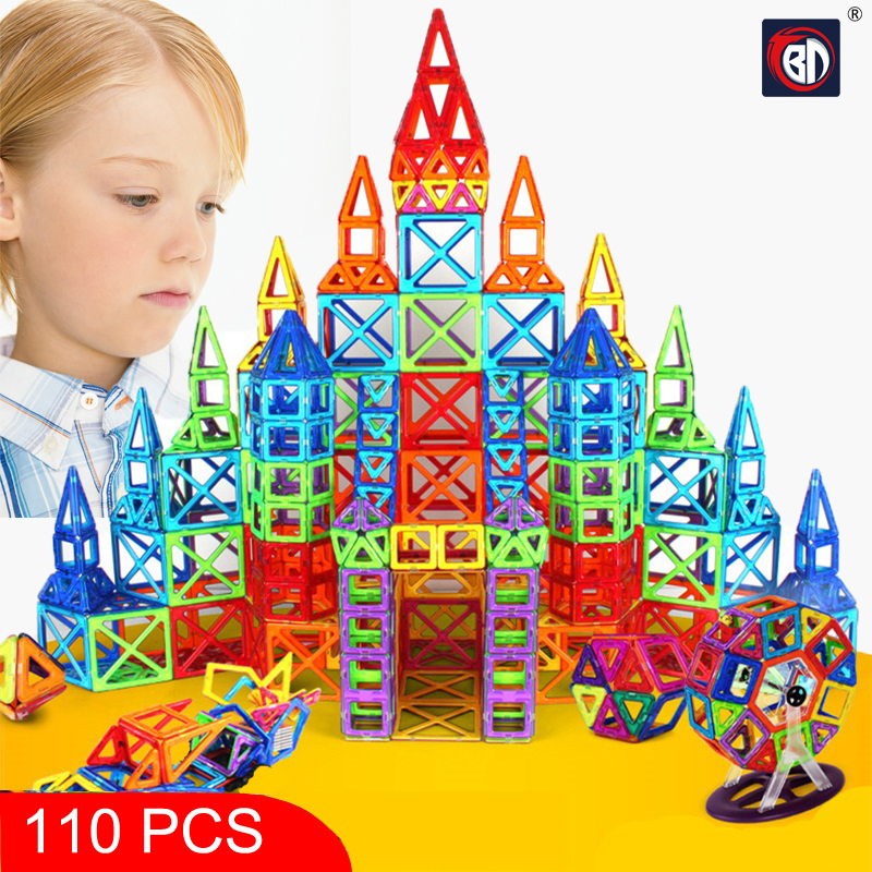 New 110pcs Mini Magnetic Designer Construction Set Model & Building Toy Plastic Magnetic Blocks Educational Toys For Kids Gift 62pcs set magnetic building block 3d blocks diy kids toys educational model building kits magnetic bricks toy