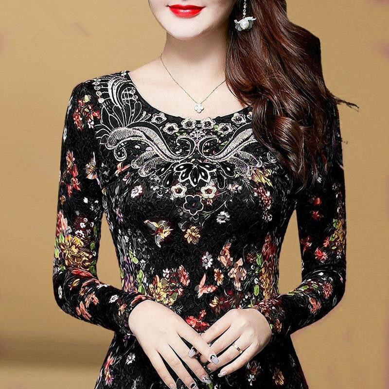 Женские кружевные блузки с длинным рукавом DF2602