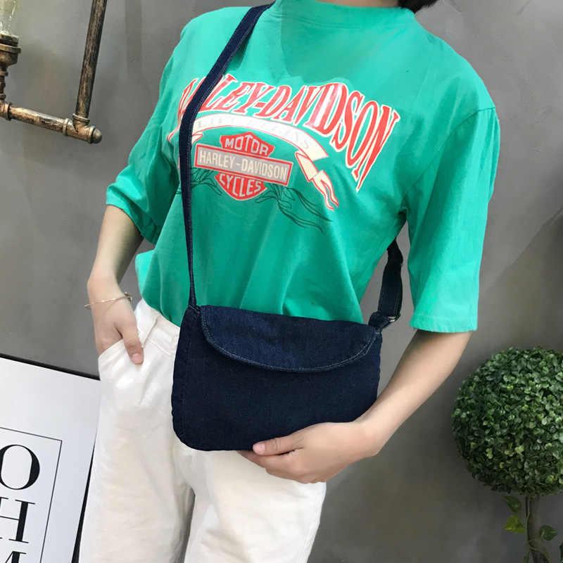 Jeans da moda Do Vintage Aba Simples Denim Mulheres Sacos Bolsas Mensageiro Crossbody bolsa de Ombro bolsa carteira bolsa feminina