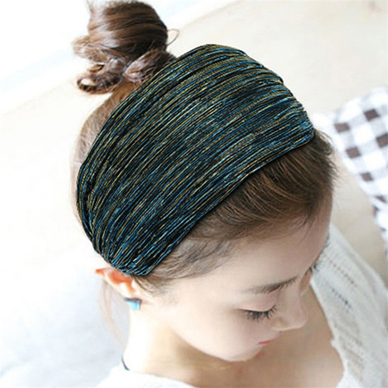 Fashion Gold Wire Wide Hairband Women Girls Toothed Hair head hoop band Accessories Fabric Mesh Yarn Headband   Headwear   Headdress