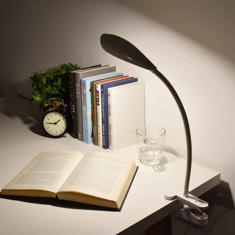 Clip On Book Light Dimmable Eye Care LED Desk Lamp Flexible Gooseneck  3 Level
