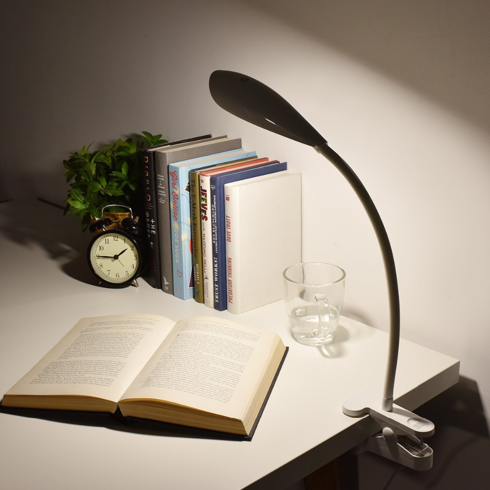 ФОТО Energy-Saving Reading Light LED Desk Lamp Clamp Student Study Table Lamp with Clip Touch 3-level Dimmer Battery Powered&USB Port