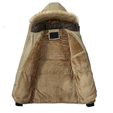 Plus Size M-5XL Casual Warm Parkas Men Fur Collar Hooded Men Winter Jacket Wool Liner Windproof Parkas Outwear Hombre Invierno Islamabad