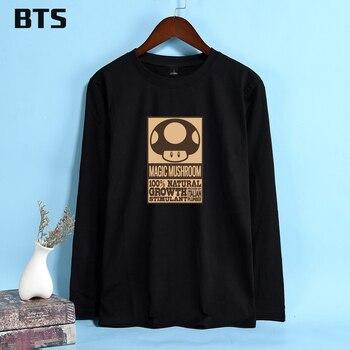 BTS Magic seta Camiseta larga de moda divertida Cool Hipster marca Camiseta  de algodón de manga larga cómodo cuello redondo manga larga suelta b19a80668b1ca