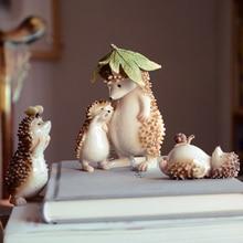 NEW Cute Animal resin hedgehog miniature Figurine Craft teraryum fairy garden miniatures Mini home decoration accessories