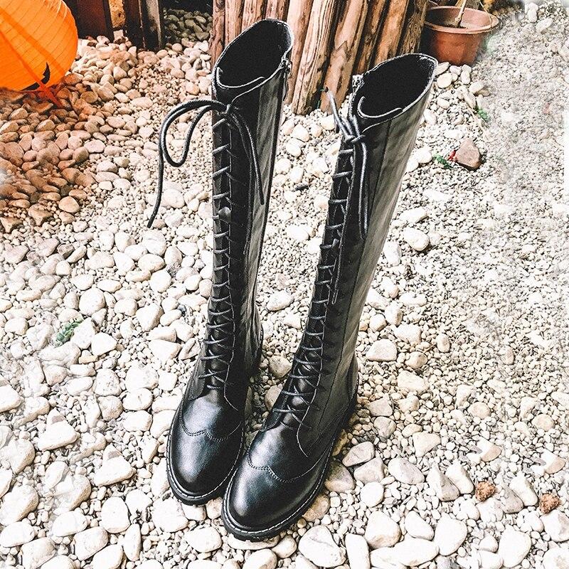 Combat Botas Lace Haute Cuir Bout Up De Femmes Motard Bottes En Rond Zapatos Élégant Genou Noir As Pic Moto Chaussures Chevalier Mujer HFqAFTxpw