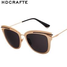 HDCRAFTER Moda gafas de Sol de Mujer de Marca Diseño Ojos de Gato Desgaste Gafas de Metal Templos gafas de Sol Gafas De Sol Feminino