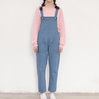 2018 Autumn College Girly Style Loose Large Pocket Tooling Strap jumpsuit jeans One piece jeans woman