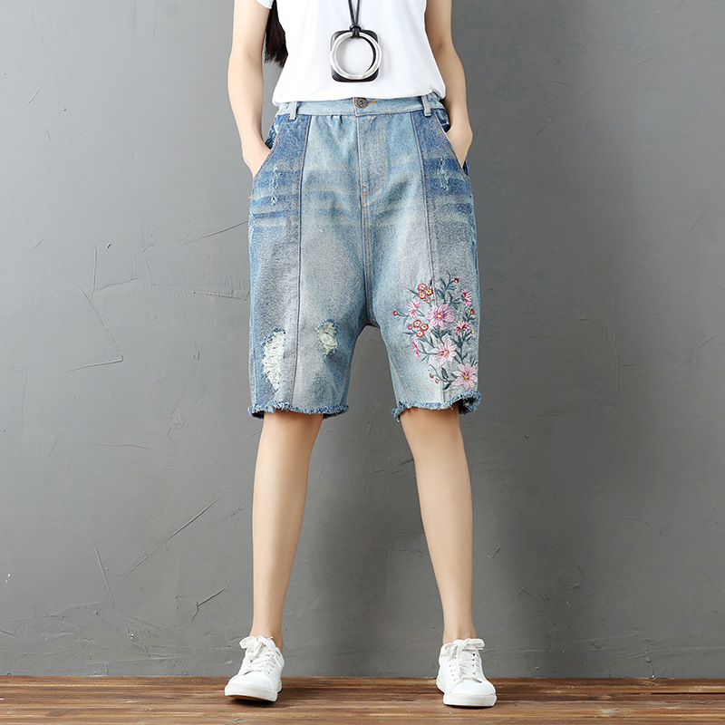 Women's Clothing Summer New Loose Shorts Plus Size Wide Leg Pants High Waist Button Adjustable Waist Ladies Denim Shorts Female Bottom Shorts Spare No Cost At Any Cost Bottoms