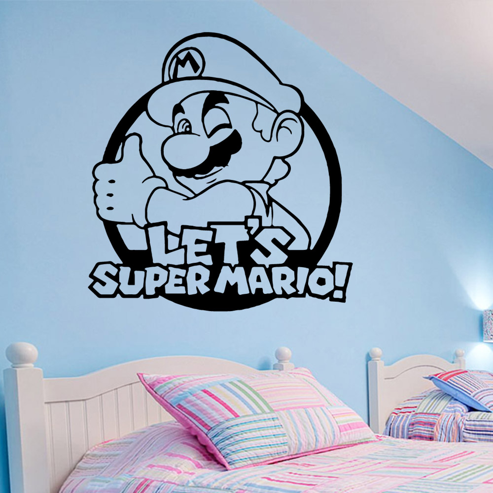 US $2.76 |Modern Super Mario Wall Stickers Lover Gameroom Decoration  Accessories For Kids Rooms Bedroom Decor Removable Mural-in Wall Stickers  from ...