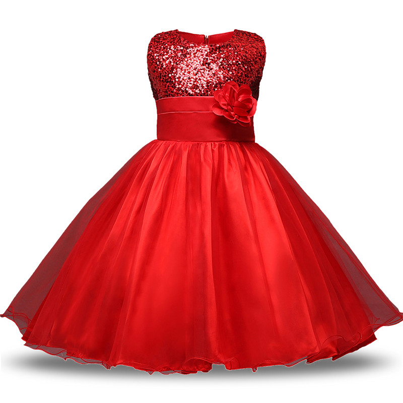 Flower Girls Dresses 2016 Girl Princess White Sequin Wedding Dress Girls Prom Dess Children Clothing Kids Baby Christmas Clothes flower baby dresses girls kids evening party dresses for girl clothes infant princess prom dress teenager children girl clothing
