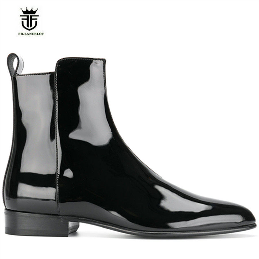 NEW High Top Luxury Handmade Pointed Toe Chelsea Martin Boots Genuine Leather Wyatt Harry England Patent Leather wedge Zip Boots luxury handmade genuine leather zip slim wedge personalized high heel boots new chelsea boots
