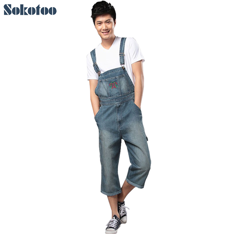 Sokotoo Men's denim bib pants Fashion embroidery overalls loose jumpsuit capris Free shipping lole капри lsw1349 lively capris xs blue corn