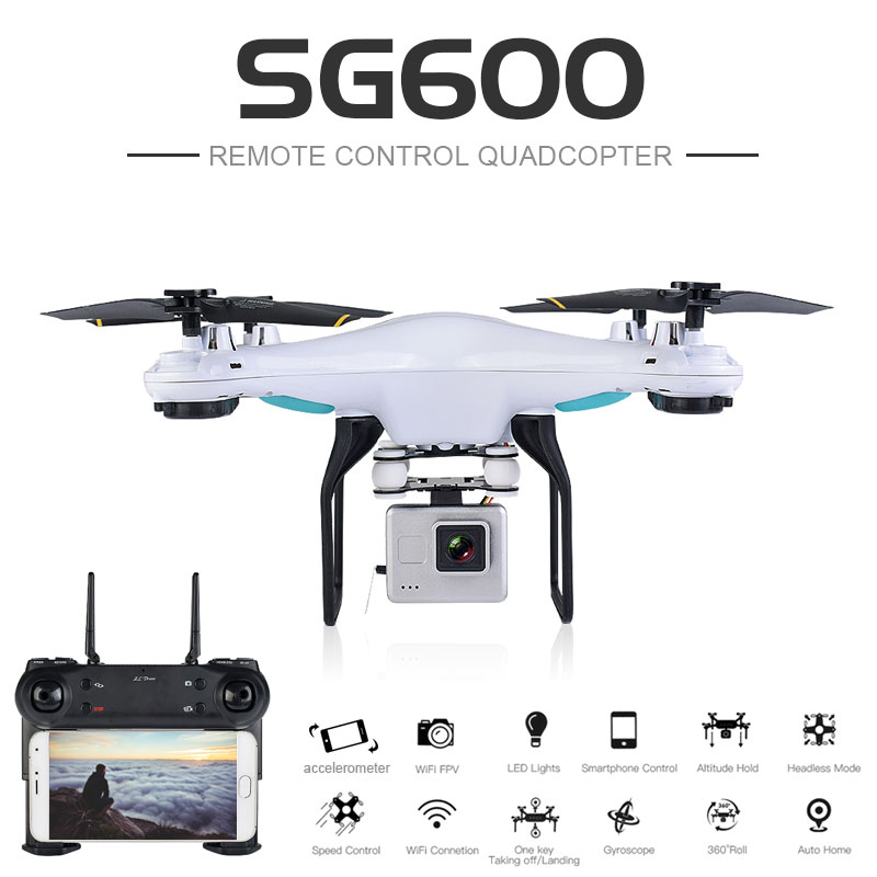 SG600 RC Drone with 0.3mp or 2mp HD Camera WIFI FPV Quadcopter Auto Return Altitude Hold Headless Mode RC Helicopter VS xs809hw jjrc h12wh wifi fpv with 2mp camera headless mode air press altitude hold rc quadcopter rtf 2 4ghz