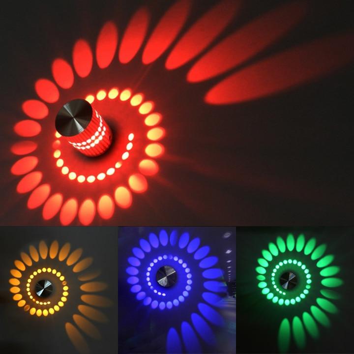 Modern Spiral Shape LED Wall Lamp 3W Aisle Bedroom Corridor Porch Background Light Luminous Lamps