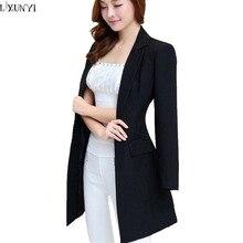 Корейский Офис блейзеры для женщин; Большие размеры Новая Осенняя черная Длинные темперамент Тонкий Формальные блейзеры с длинным рукавом для отдыха костюм куртка