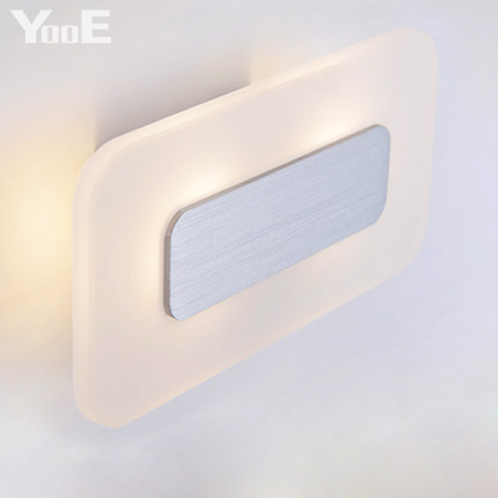Indoor LED Wall Lamp  6W  AC110V/220V Rectangular Acrylic Lighting Sconce bedroom Warm White Decorate Wall Lights Free shipping contemporary led wall lamp with butterfly lampshade for bedroom foyer 15w wall sconce white warm white indoor lighting lamp
