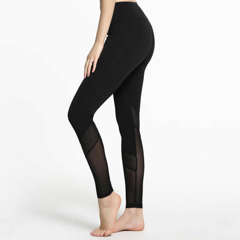 Damskie spodnie z wysokim stanem Mesh Sexy Hip push up legginsy spodnie sportowe rozciągliwe spodnie do ćwiczeń na siłownię i jogę
