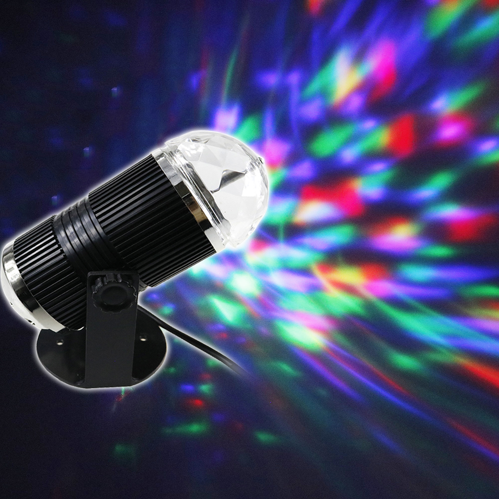 Voice Control RGB LED Stage Light Professional Disco Ball Auto Rotating Crystal Magic Lighting Sound Activated DF led par stage light dj disco with music activated auto run and dmx512 control mode different colors combinations of rgb rotating