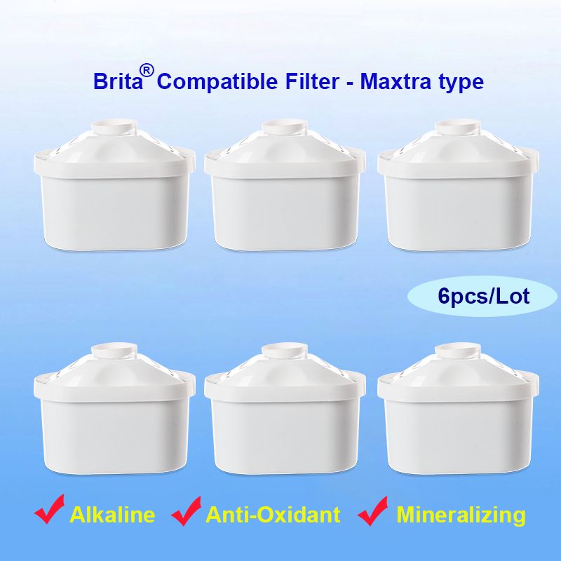6pcs Lot of 7 layer Mineral Alkaline Ionizer Maxtra Water Filters Replacement refills for brita filter