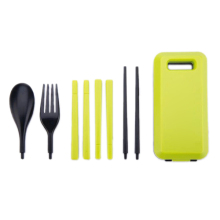 10x( Outdoor Travel Picnic Portable Tableware Eco-friendly ABS Tableware Chopsticks Spoon Fork Storage Box (Green)