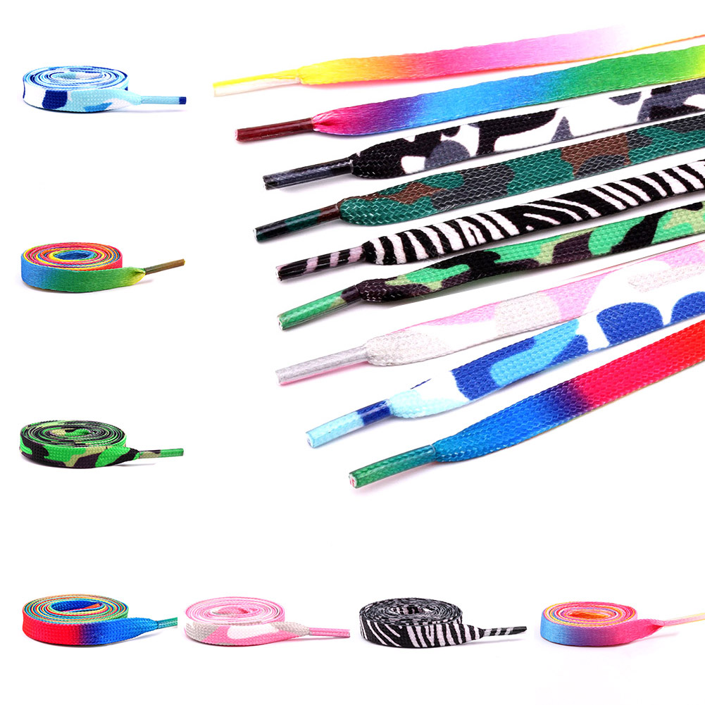 Colorful Flat Candy Color Gradient Changing Colors Shoe Laces Party Camping Boots Shoelace Canvas Strings Growing Canvas Strings