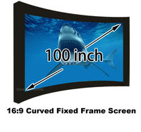 New Arrival 16:9 100 Inch Matt White Curved Fixed Frame Projection Screen For 3D Home Cinema System Projector Screens
