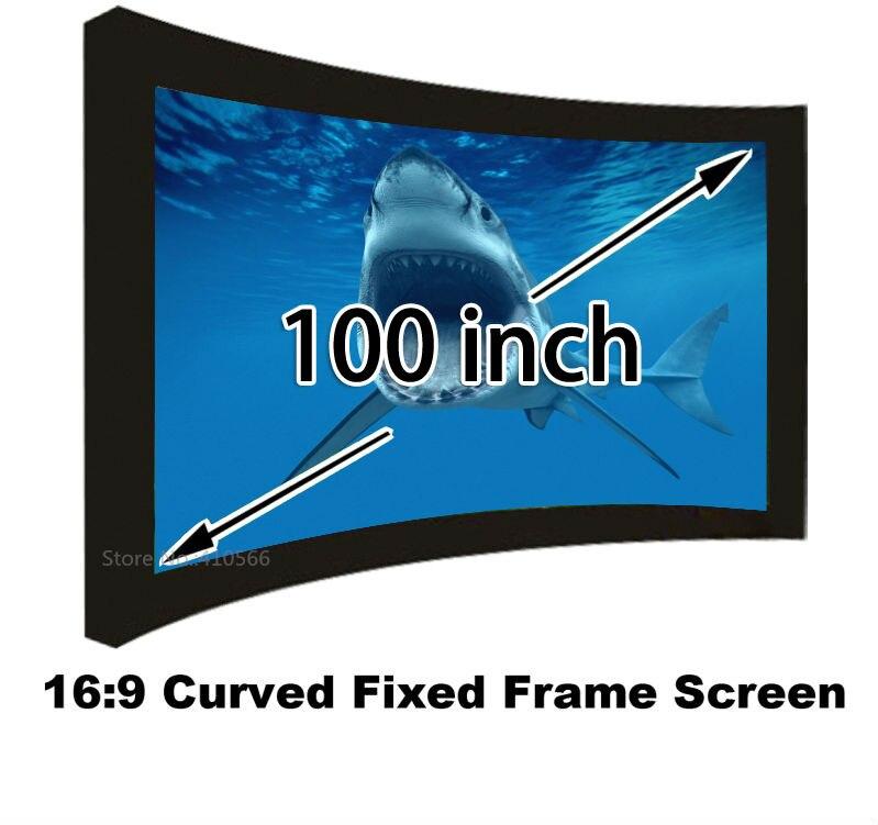 Nueva llegada 169 pantalla de proyección de marco fijo curvado blanco mate de 100 pulgadas para pantallas de proyector de sistema de cine en casa 3D