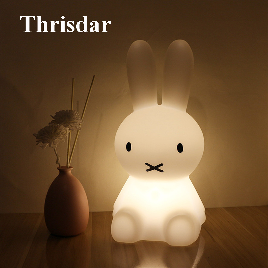 Thrisdar 28CM USB Rechargeable Novelty Rabbit LED Night Light Cartoon Rabbit Atmosphere Desk Table Light Baby Kids Toy's Light pinup rockabilly special retro atmosphere beautiful generous banquet hoop rabbit ear