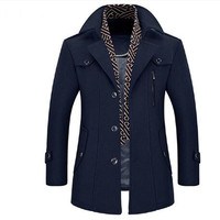 Men Coat Wool Overcoat Turn Collar Warm Jackets Woolen Men Coats And Blends With Scarf Breathable Outwear
