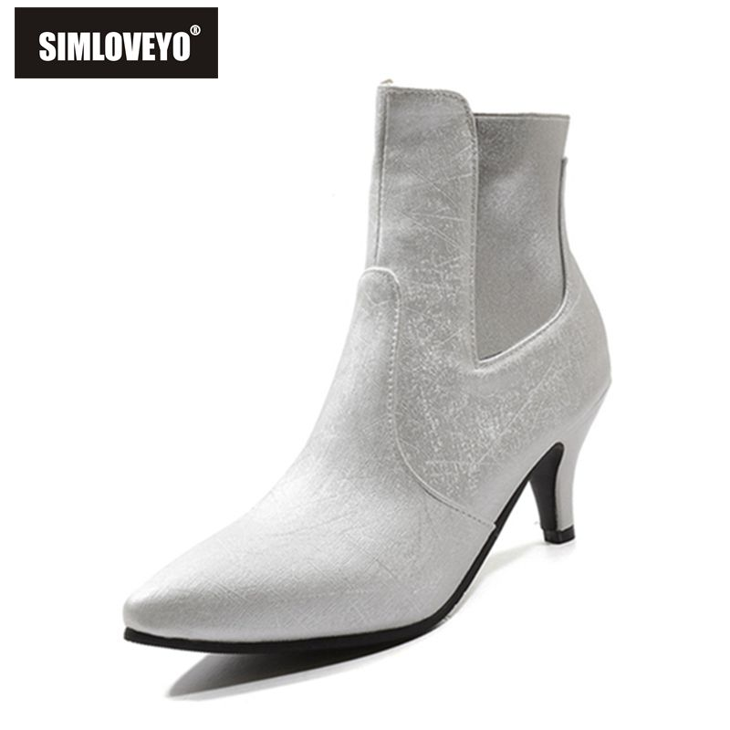 SIMLOVEYO New winter Shoes women Ankle boots Pointed toe Pu leather high heel boots Botas feminino mujer solid shoes A1382