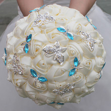 18CM Elegant Biege Cream Rose Butterfly Blue Crystal Diamond Stitch Wedding Bouquet Bridal Mariage Brooch Flower