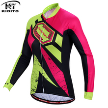 цены KIDITOKT 2019 Winter Pro Team Bike Cycling Jersey Long Sleeve Women Thermal Fleece Cycling Clothing MTB Windproof Bicycle Jersey