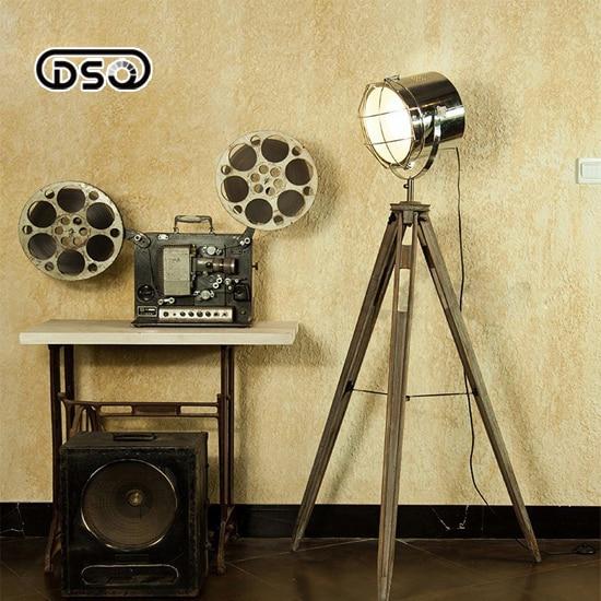 Solid Wood Tripod Searchlight Floor Lamp Nordic American Vintage Loft Style LED Home / Restaurant Decorative Fixture