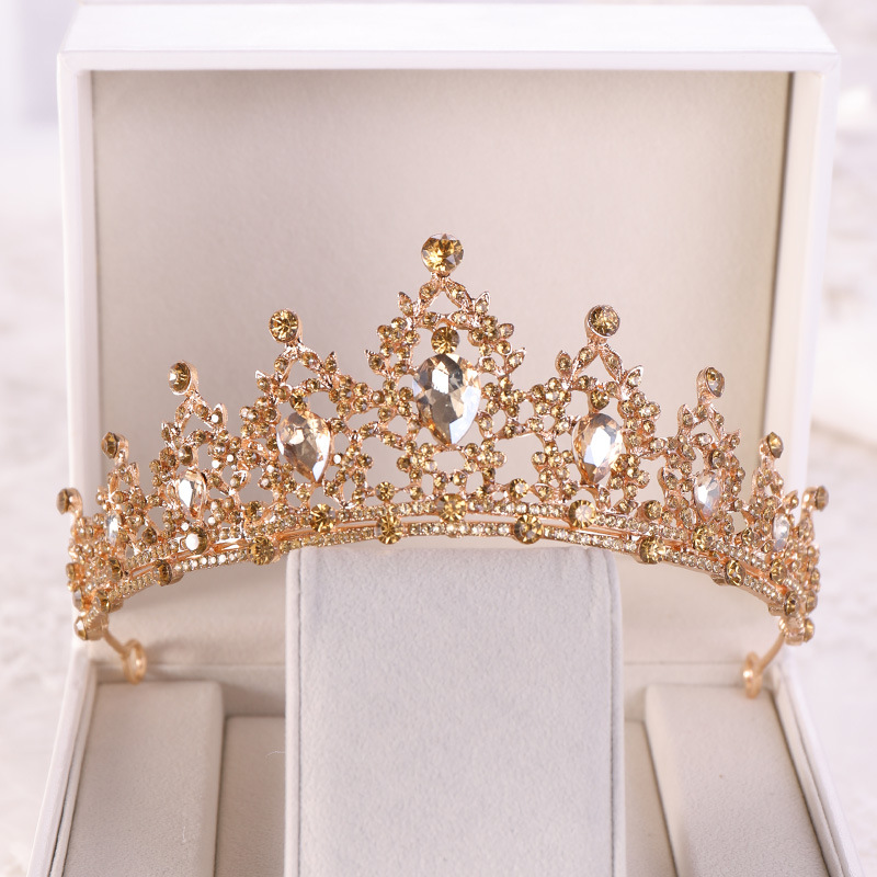 Crown Rhinestone Headbands Hair-Accessories Tiara Champagne Wedding Gold Diadem Pageant