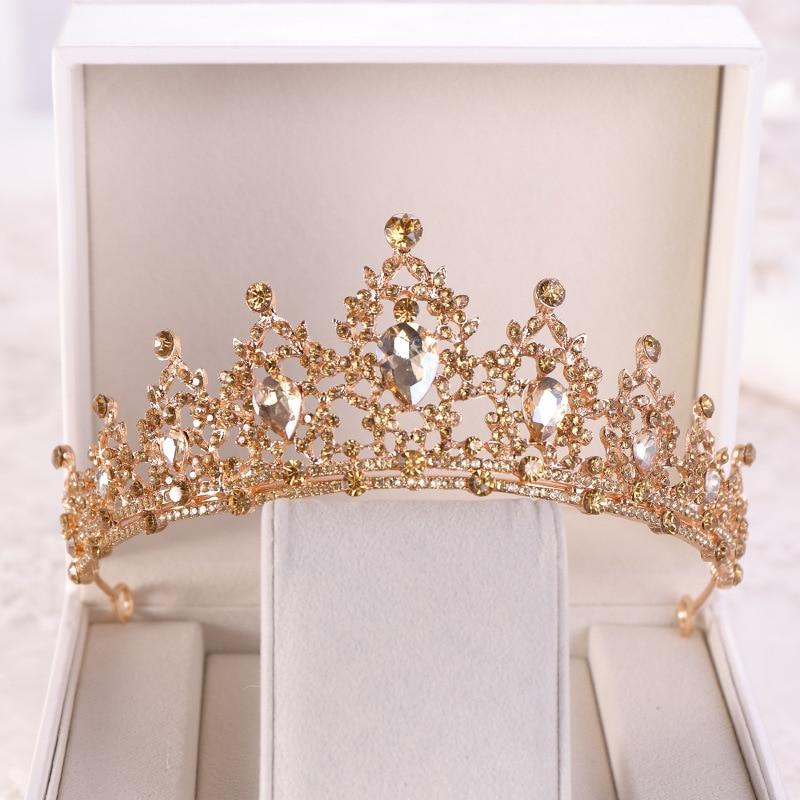 Crown Rhinestone Headbands Hair-Accessories Tiara Champagne Wedding Gold Diadem Pageant