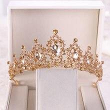 Barroco ouro champanhe coração de cristal tiaras nupcial coroa strass pageant diadem véu tiara hairbands casamento acessórios para o cabelo
