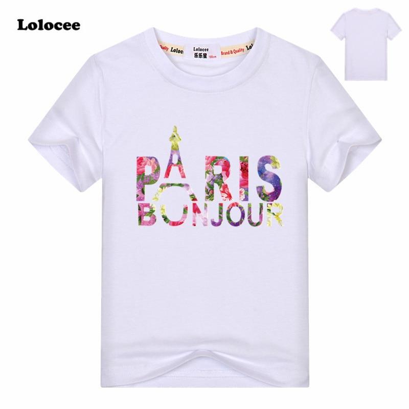 Flower PARIS Summer Girls White 100%Cotton tshirt tops Short Sleeve O-neck Letter Printed Casual t-shirt tee shirt Kids Clothes