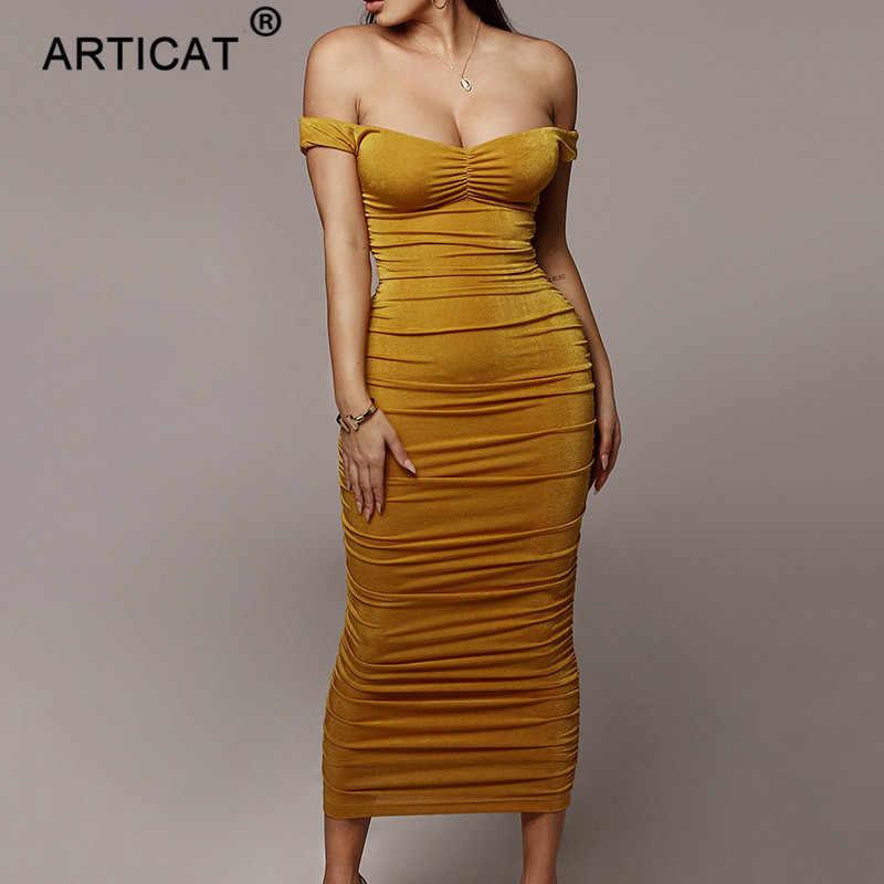 Articat с открытыми плечами без бретелек Сексуальные вечерние женские платья без рукавов с открытой спиной облегающее длинное с рюшами Летнее платье Черное Повседневное платье