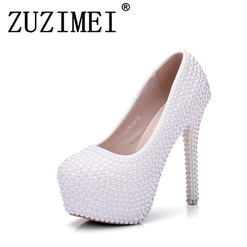 Pearl White Fashion Womens Wedding Pumps High Heel Platform Lady Wedding Shoes Gentlewomen Bridal Dress ShoesPearl White Fashion Womens Wedding Pumps High Heel Platform Lady Wedding Shoes Gentlewomen Bridal Dress Shoes
