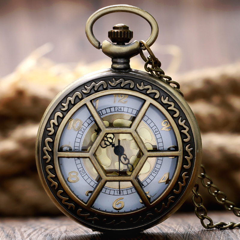 Exquisite Bronze Skeleton Design Men Women Quartz Pocket Watch Hexagonal Case Design With Necklace Chain Relogio De Bolso