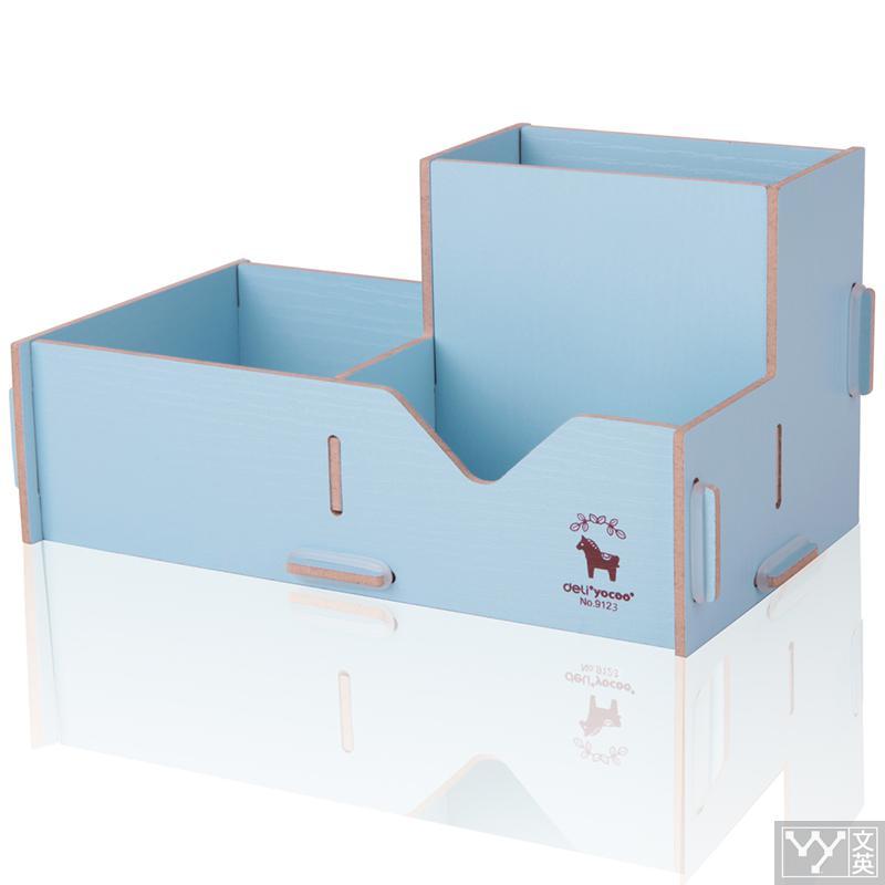Deli Assembled Wood pencil case pen vase Box Diy Pen Makeup Brush Holder Stationery Desk big Pen storage blue pink stationery deli 9145 stylish pc pencil pen holder deep pink wood