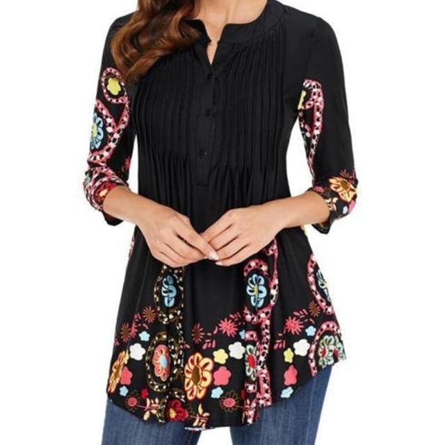 c8c0c2822a 4XL Women Blouse Vintage Floral Printed Loose Tunic Tops Elegant 3/4 Sleeve  Folds Ladies Shirts Plus Size Korean Blouses Blusas