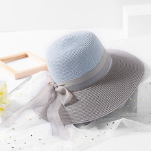 Nova cor luta fita seaside resort de praia feminino chapéu de palha Verão  chapéu de sol menina 16726715408